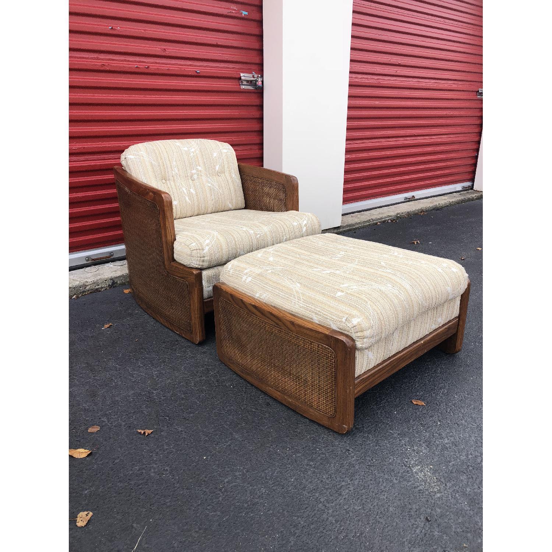 Vintage Lounge Chair w/ Cane Arms & Ottoman - image-6
