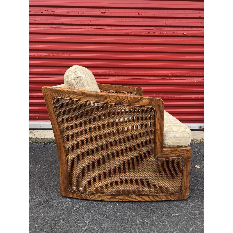 Vintage Lounge Chair w/ Cane Arms & Ottoman - image-8