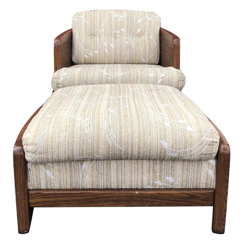 Vintage Lounge Chair w/ Cane Arms & Ottoman - image-0