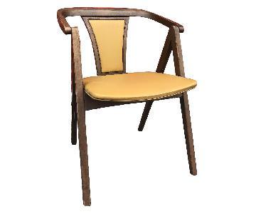 Stakmore Mid Century Chair in Yellow Vinyl & Walnut