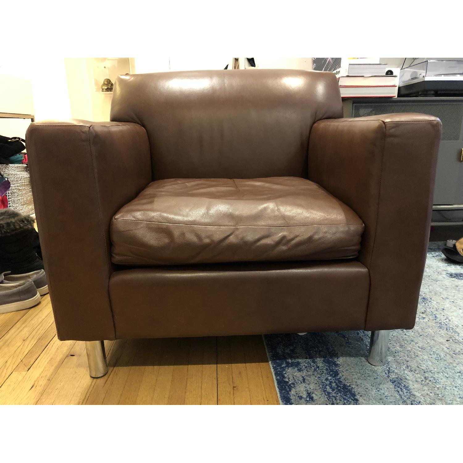 Room & Board Brown Leather Armchair-2