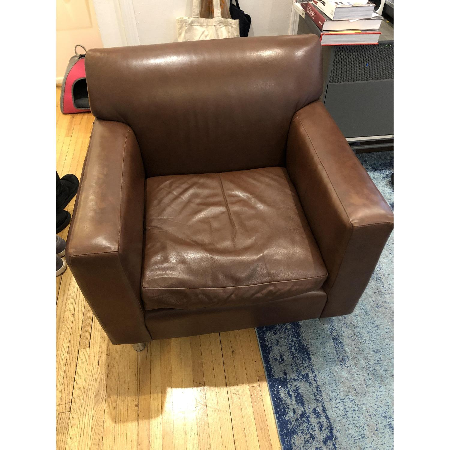 Room & Board Brown Leather Armchair-3