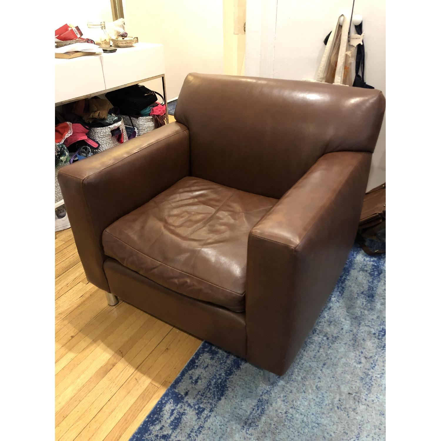 Room & Board Brown Leather Armchair-4
