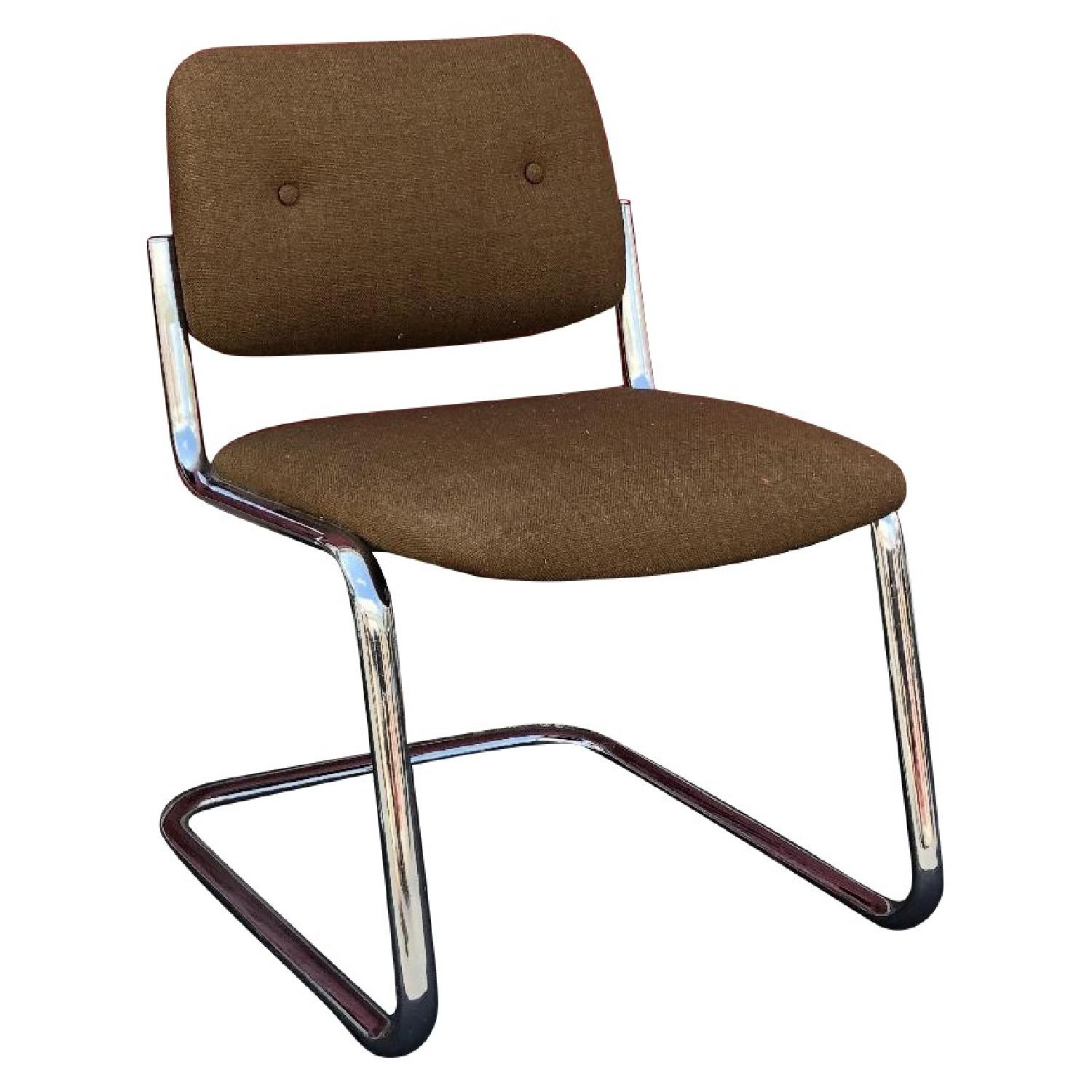 Mid Century Cantilever Chairs w/ Brown Upholstery