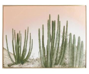 World Market Cactus Desert Wall Art w/ Gold Frame