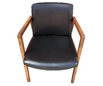 Mid Century Modern Walnut Chair w/ Black Vinyl Upholstery