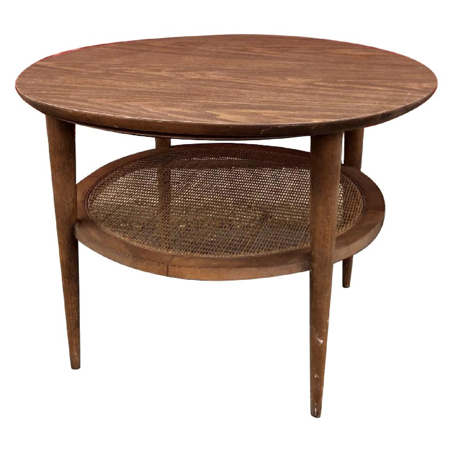 Lane Mid Century Modern Round End Table w/ Cane Shelf