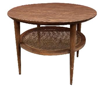 Lane Mid Century Modern Round End Table w/ Cane Shelf