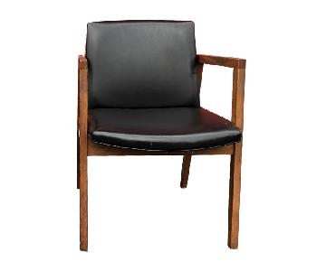 Mid Century Arm Chairs in Walnut & Black Vinyl