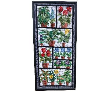 Vintage 1970s Colorful Framed Needlepoint House Plant