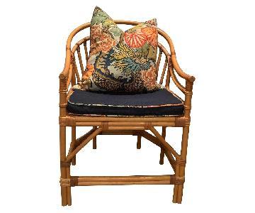 Vintage Faux Bamboo Chairs w/ Chiangmai Dragon Pillows