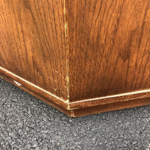 Used Mid Century Brasillia Style End Table w/ Storage Cabinet for sale on AptDeco