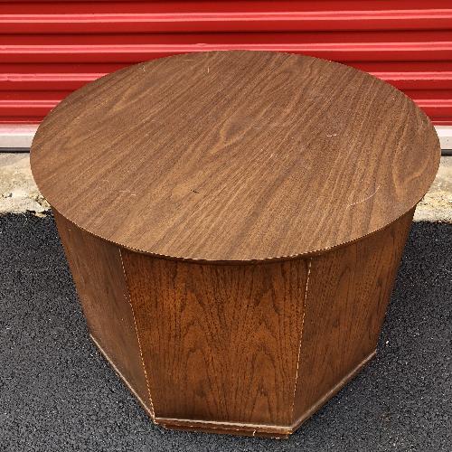 Used Mid Century Brasillia Style End Table w/ Storage Cabinet for sale on AptDeco