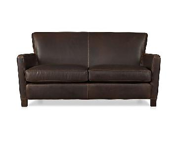 Crate & Barrel Briarwood Brown Leather Loveseat