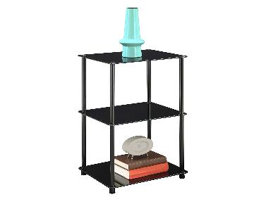 Midnight Classic 3-Tier Glass Square End Table