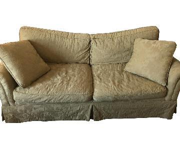 Light Yellow Slipcovered Sofa + Matching Chair
