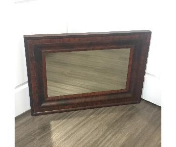 Wall Mirror w/ Dark Beveled Wood Frame