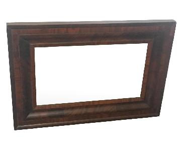 Wall Mirror w/ Dark Beveled Wood Frame