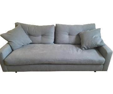 Classic Sofa Steel Blue Linen Mid-Century Sofa