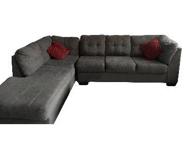 Grey Fabric L-Shape Sectional Sofa