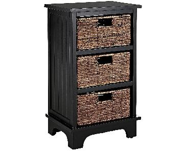 Pier 1 3 Drawer Wood & Wicker Nightstand
