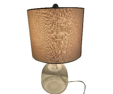 Clear Base Table Lamps w/ Linen Shades