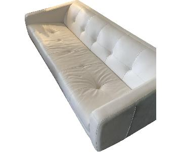 Space Interiors Custom White Tufted Leather Sofa