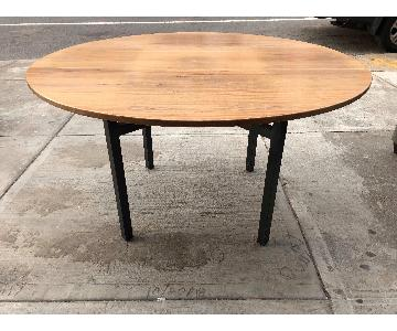 Modern Round Dining Table w/ Metal Legs