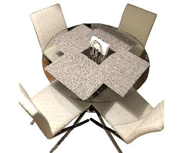 Modani Italian Glass Dining Table w/ 4 White Leather Chairs
