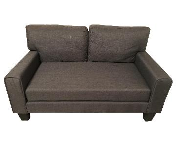 Dark Grey Upholstered Loveseat