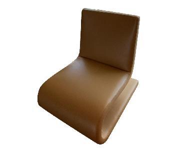 Poliform Tan Leather Swivel Chairs