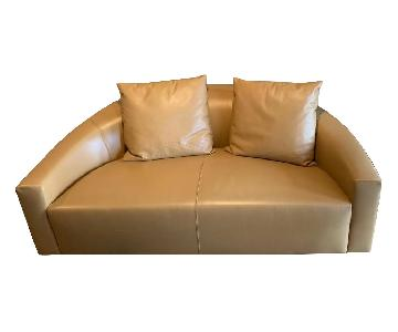 Poliform Tan Leather Loveseat
