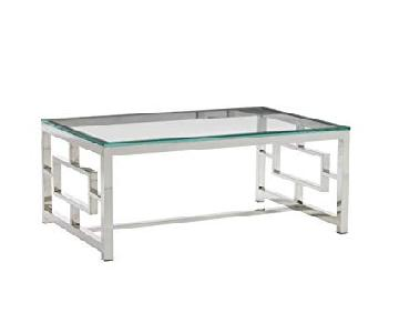 Safavieh Russell Glass/Chrome Coffee Table