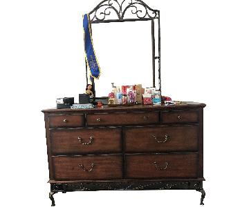 Dark Brown 7 Drawer Dresser w/ Mirror