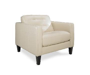 Macy's Cream Tufted Leather Armchair