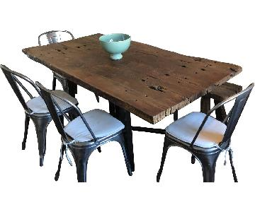 From The Source Rustic Table w/ 1 Bench w/ 4 Vintage Chairs