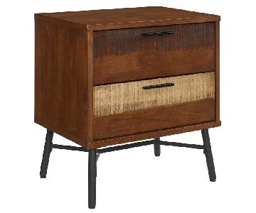 Manhattan Home Design Rustic Wooden Nightstand In Walnut