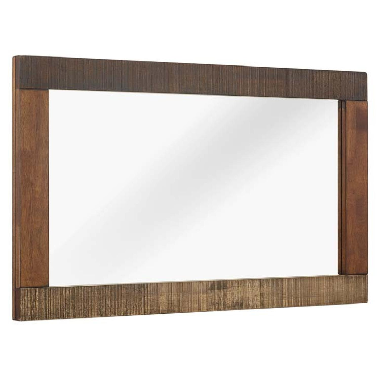 Manhattan Home Design Rustic Wood Frame Mirror in Walnut
