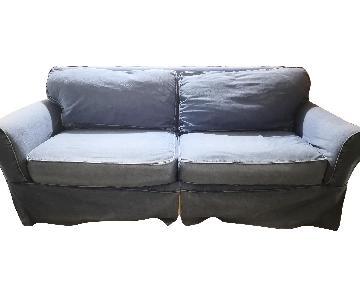 Denim Fabric Slipcovered Sofa