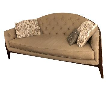 Raymour & Flanigan Beige Tufted Sofa