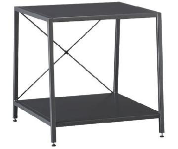 CB2 Dark Grey Metal Side Table