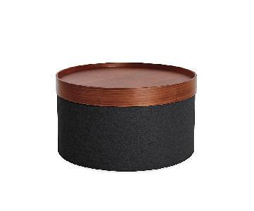 Design Within Reach Drum Pouf Tray w/ Walnut Top