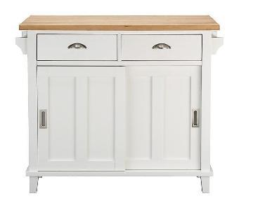 Crate & Barrel White Kitchen Island/Console Table