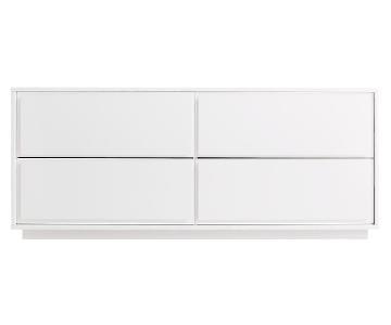 CB2 Gallery White 4 Drawer Low Dresser