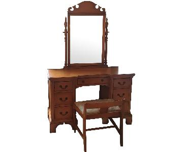 Vintage 1900- 1950s Bow Front Vanity w/ Stool