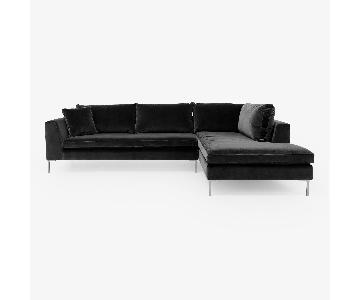 ABC Home Carrol Gardens Leather Sectional w/ Right Chaise