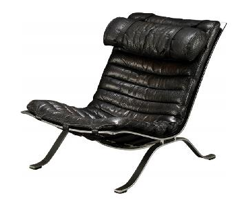 Arne Norell Black Leather Chair