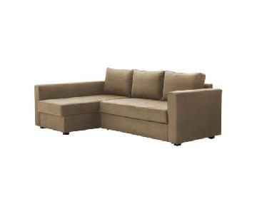 Ikea Friheten Beige Sleeper Sectional Sofa w/ Storage