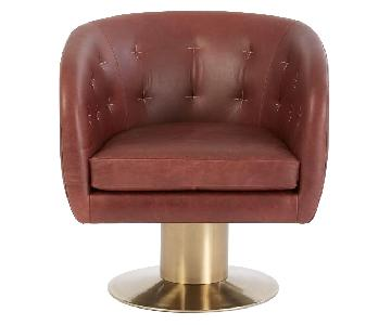 West Elm Leather Swivel Chair