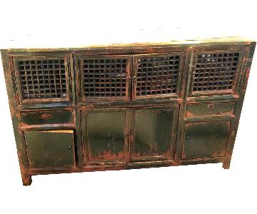 Solid Wood Distressed Vintage-Style Green Console